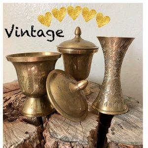 Vintage Indian Etched Ginger Pots & Incens…